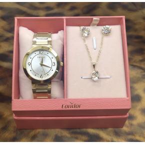 kit Relógio Condor Feminino Dourado Copc21aeao/K4b + Colar e brinco folheado a ouro