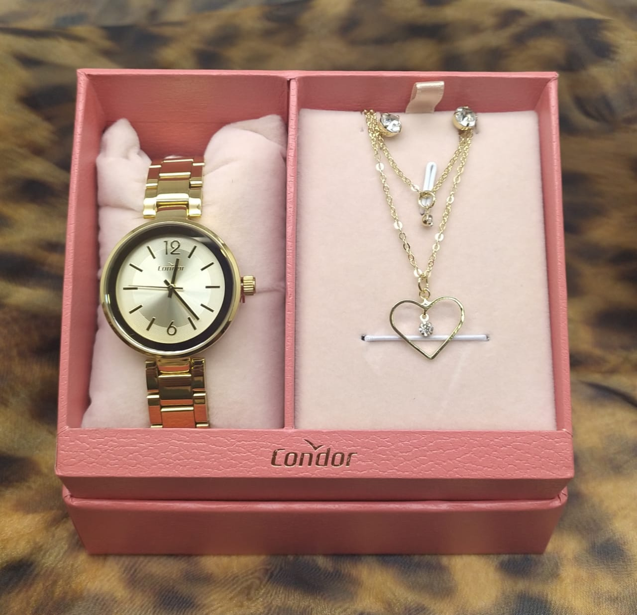 Kit Relógio mini Feminino Condor Dourado COAL2035EXO/K4D + Colar e brinco folheado a ouro