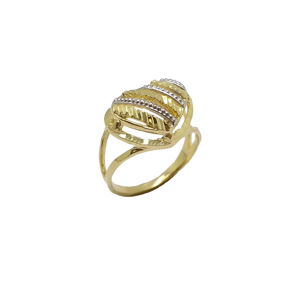 Anel Coração Diamantado Folheado a Ouro 18K