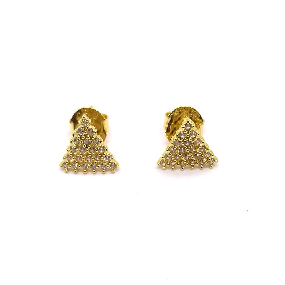 Brinco Triangular Cravejado Folheado a Ouro 18K