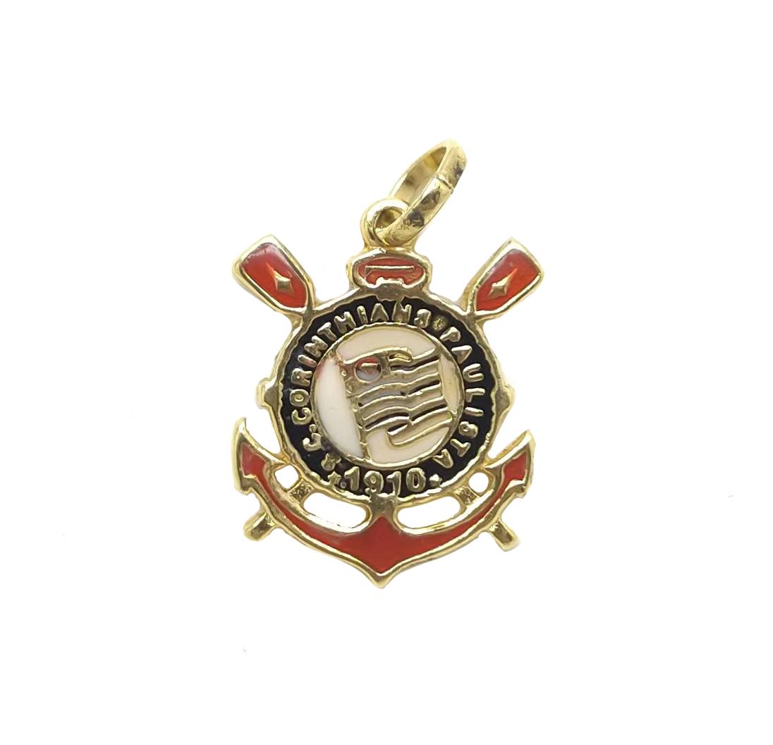 Pingente escudo do corinthians folheado 18k