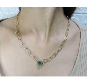 Maxi colar coração com pedra verde de zircônia folheado a ouro 18k