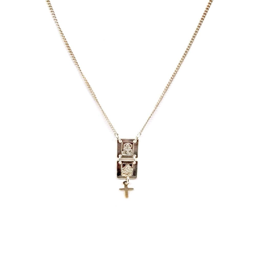 Escapulário S.C Jesus, Nossa Senhora do Carmo e Cruz em Prata