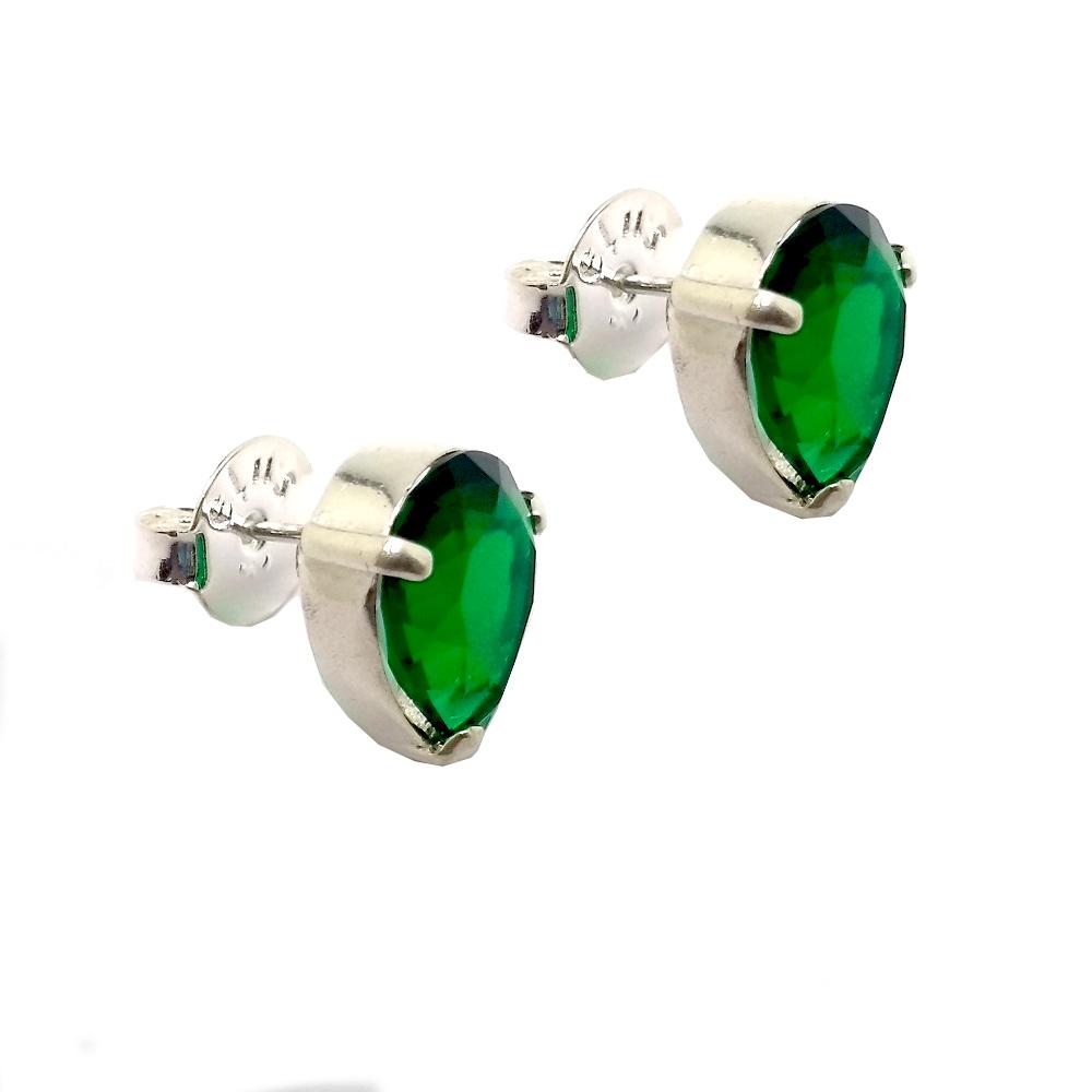 Brinco de Zircônia Verde Médio em Prata