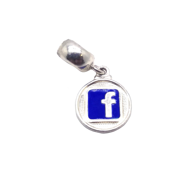 Berloque Simbolo Facebook em Prata