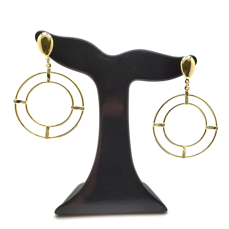 Brinco Pêndulo de Dois Círculos Vazados Folheado a Ouro 18K