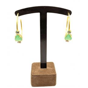 Argola Aberta  Pedras Verdes Folheada a Ouro 18K