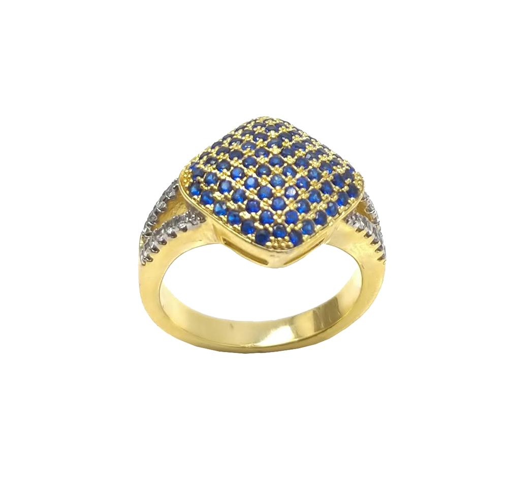 Anel Losango com Pedras Azuis Folheado a ouro 18K