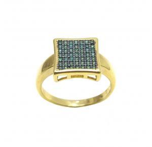 Anel com Pedras Verdes Folheado a Ouro 18K
