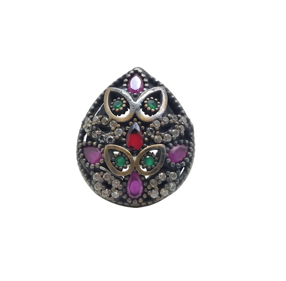 Anel Gota com Pedras Coloridas em Prata Turca