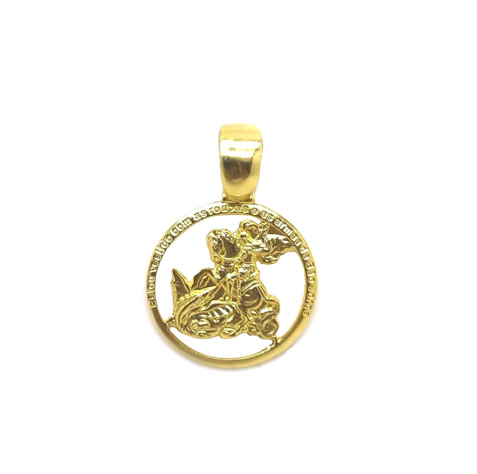 Medalha de São Jorge folheada 18k