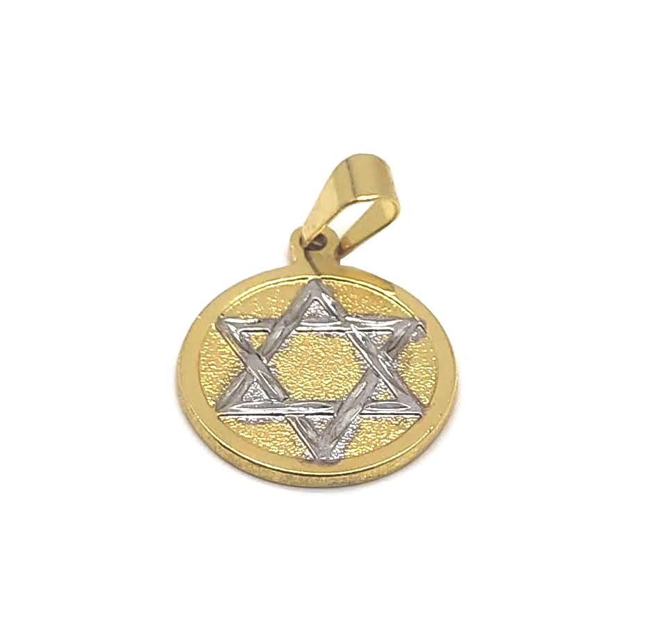 Medalha estrela de Davi folheada 18k
