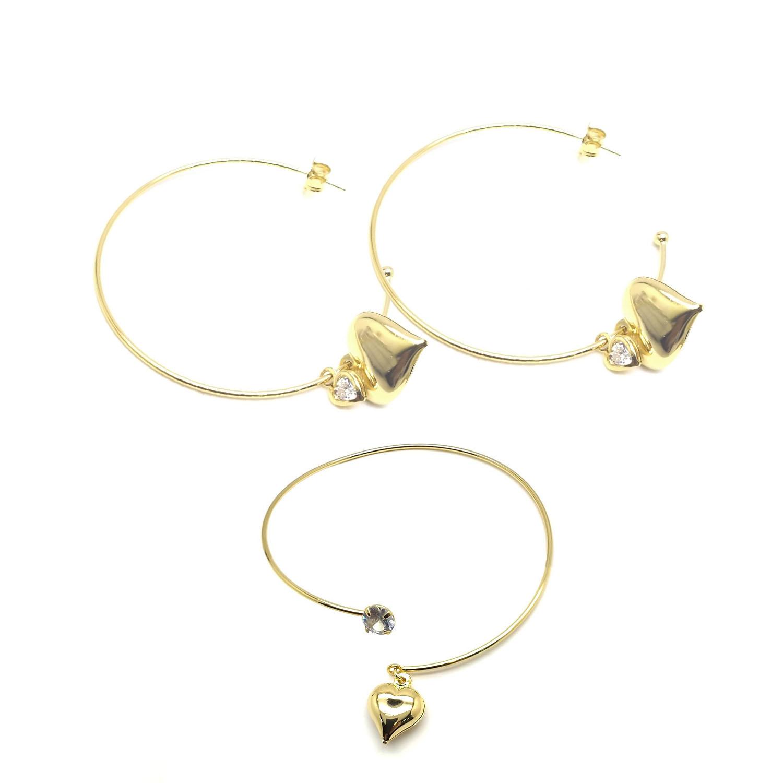 Conjunto argola+bracelete coração folheado a ouro 18 k