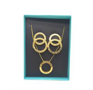 Conjunto brinco+colar Réplica BVLGARI folheada a ouro 18k