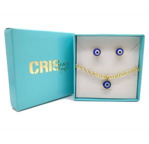 Conjunto brinco+pulseira olho grego folheado a ouro 18k