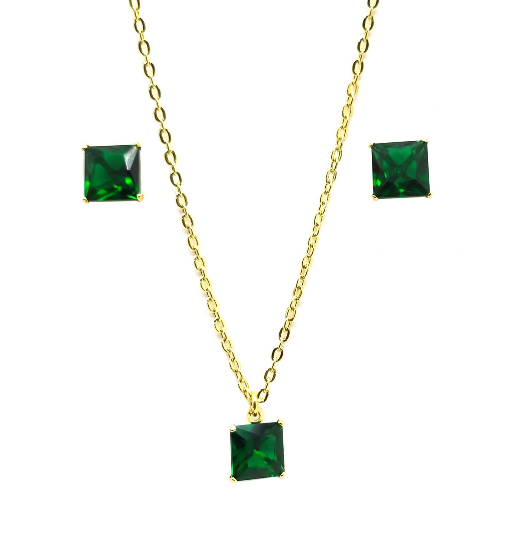 Conjunto Colar e Brinco com Pedras Verdes Folheado a Ouro 18K