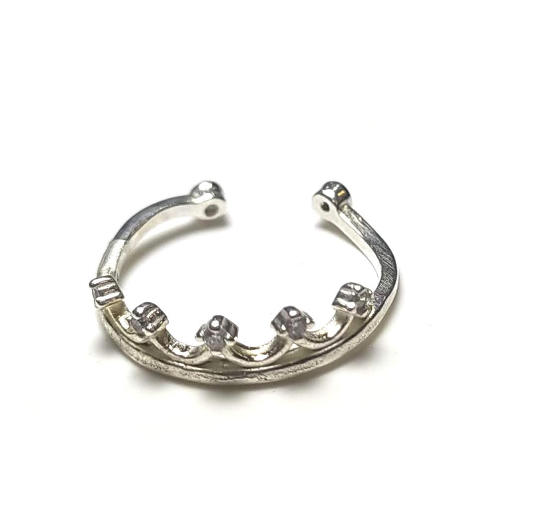 Anel coroa de falange em prata
