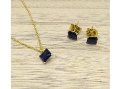 Conjunto Colar e Brinco com Pedras Azuis Folheado a Ouro 18K