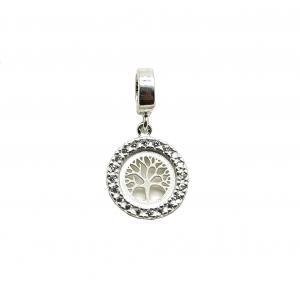 Berloque Arvore da vida em prata 925 com pedras de zircônia