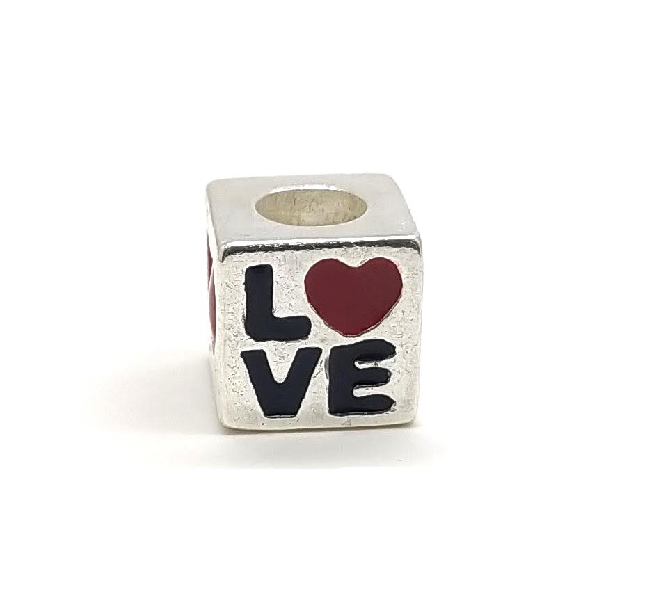 Berloque separador love em prata 925