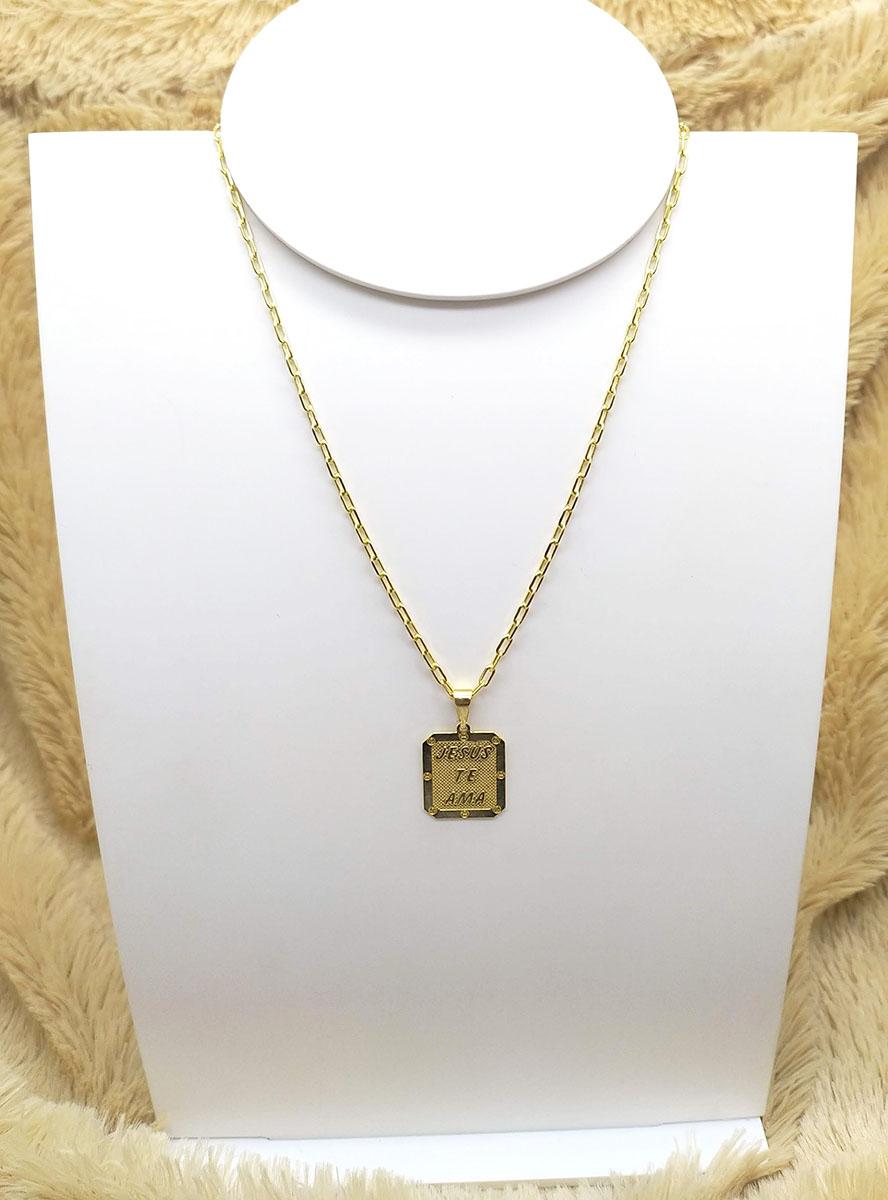 Corrente Cartier Masculina com Pingente de Placa Folheado a Ouro 18K