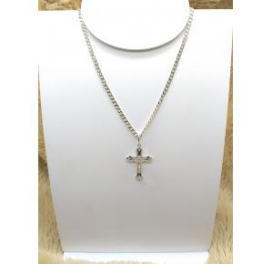 Corrente Groumet Masculina com Pingente de Crucifixo em Prata