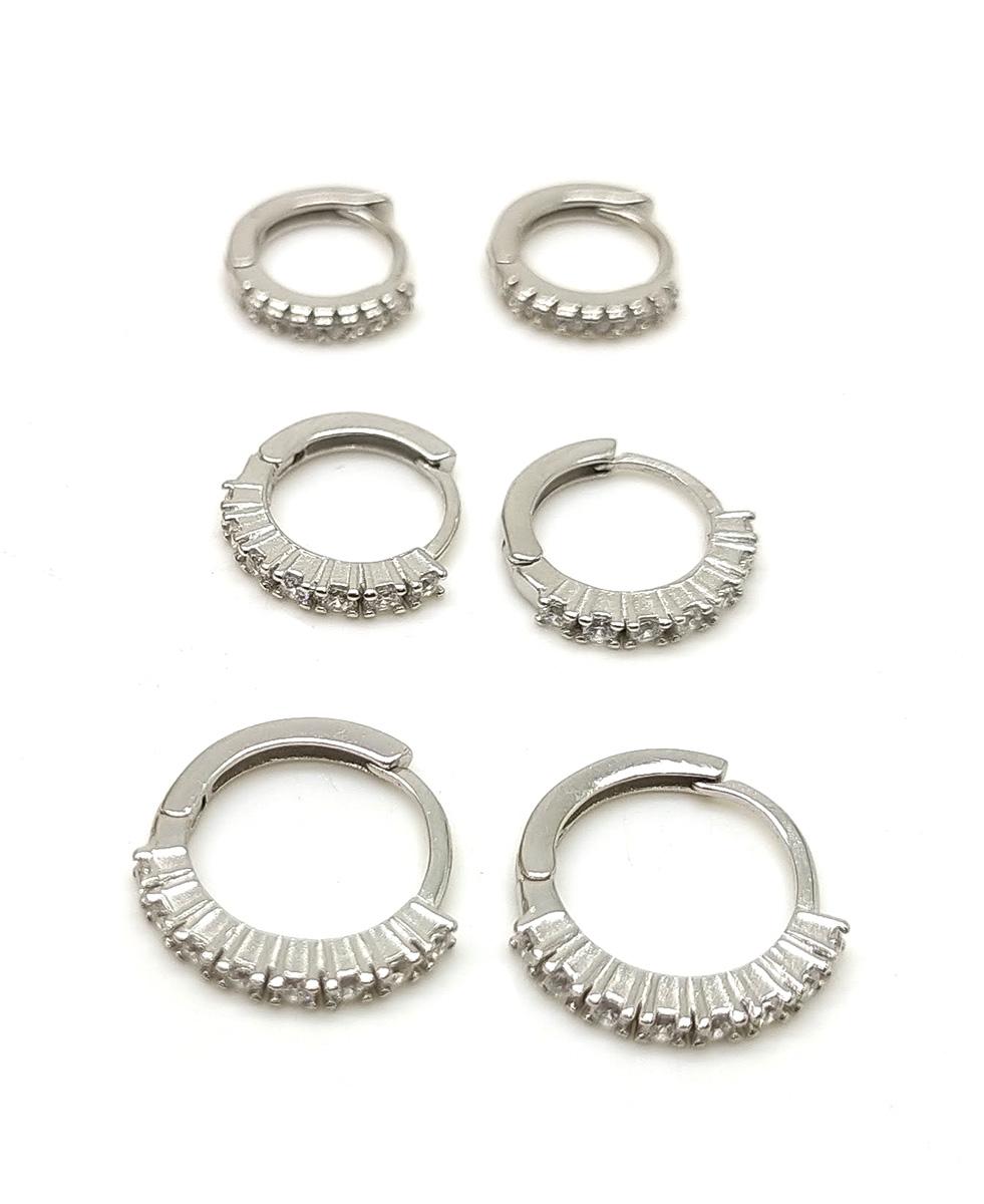 Trio de argolas em prata 925  com pedras de zircônia