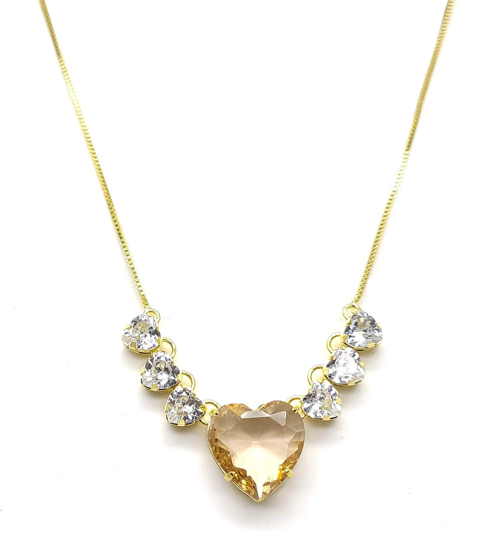 Colar corações folheado a ouro 18k  com pedras de zircônia