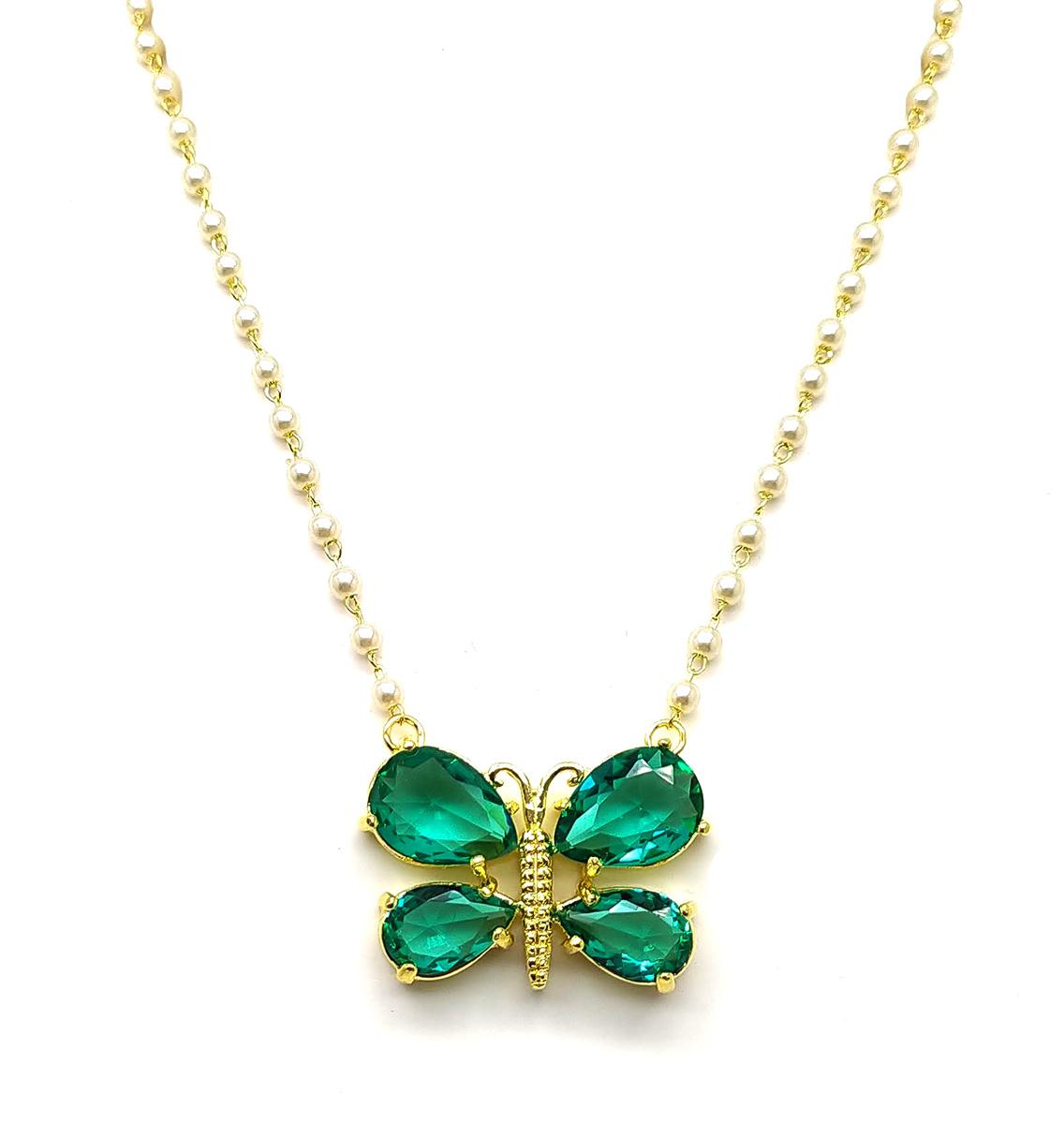Colar borboleta folheado a ouro 18k com pedra de zircônia verde e pérolas