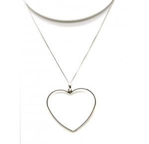 Colar em prata 925 com pingente de coração vazado