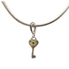 Berloque de Prata chave coração