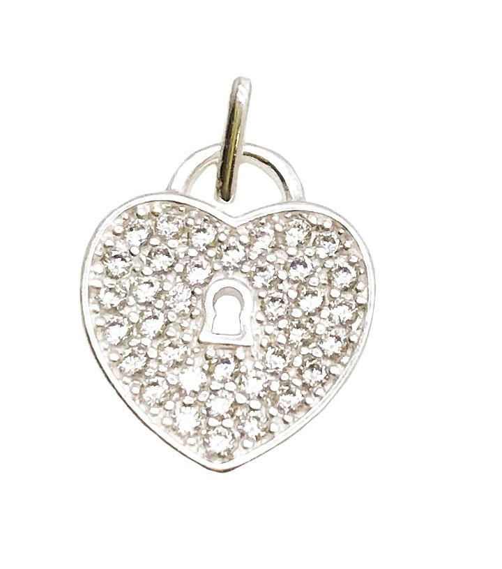 Pingente coração cadeado em prata 925
