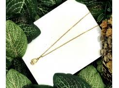 Tornozeleira palma chakra folheado a ouro 18k