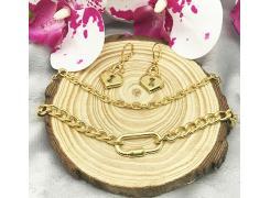 Conjunto colar Mosquetão+brinco cadeado coração folheado a ouro 18k