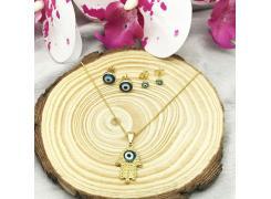 Conjunto colar+brinco olho grego folheado a ouro 18k