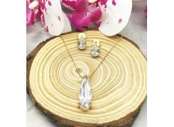 Conjunto colar+brinco gota com pedra de zircônia folheado a ouro 18k