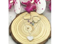 Conjunto colar+brinco coração em prata 925