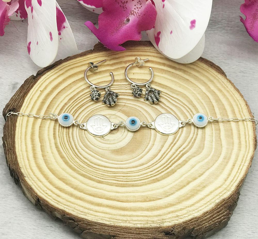 Conjunto pulseira+brinco mão de fátima em prata 925