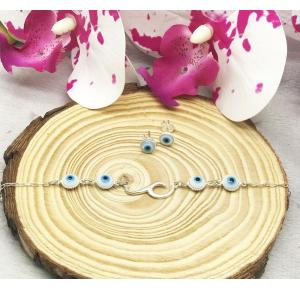 Conjunto pulseira+brinco olho grego em prata 925