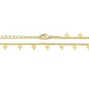 Tornozeleira com pingente de cruz folheado a ouro 18k