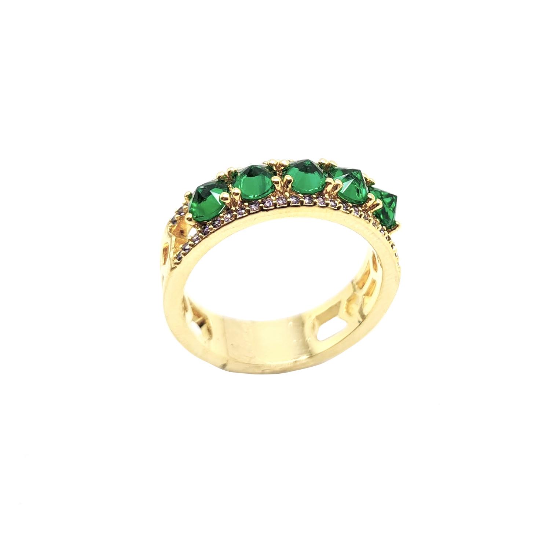 Anel Cravejado com Pedras Verdes e Lilás Folheado a Ouro 18K