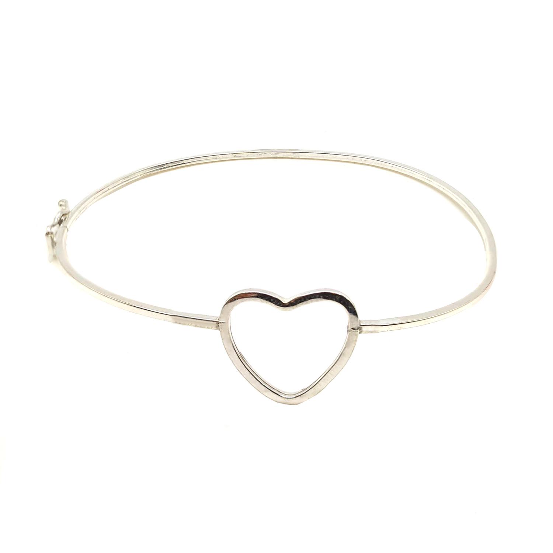 Bracelete de Coração em Prata