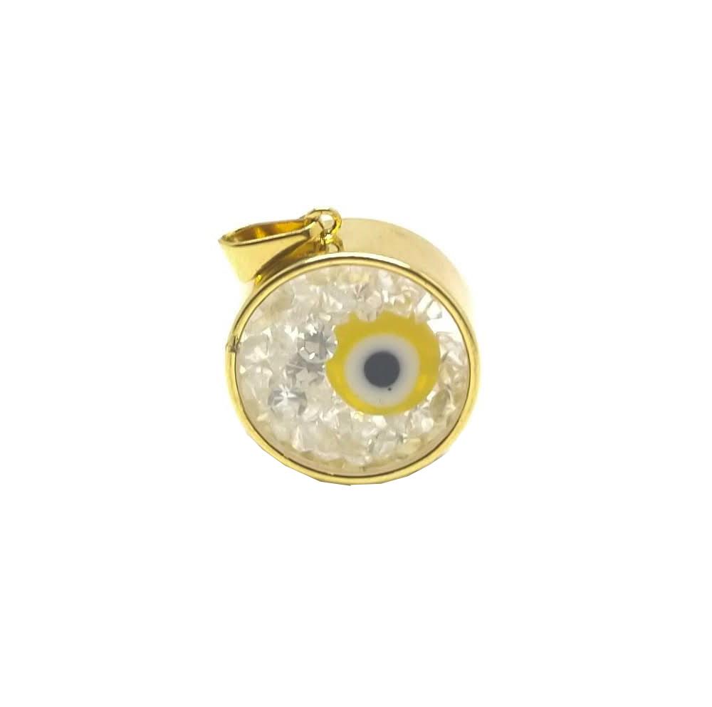 Relicário olho grego amarelo folheado 18k