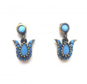 Brinco em prata turca com pedras azuis