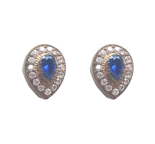 Brinco gota em prata turca com pedra azul e zircônia
