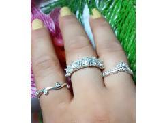 Anel Aparador em Prata com Pedras