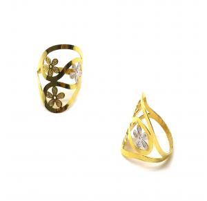 Anel com 3 Flores Folheado a Ouro 18K