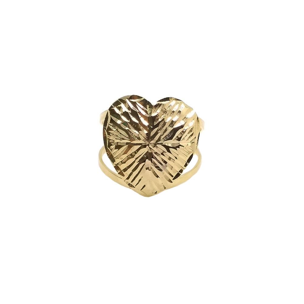 Anel de Coração com Efeito Diamantado Folheado a Ouro 18K