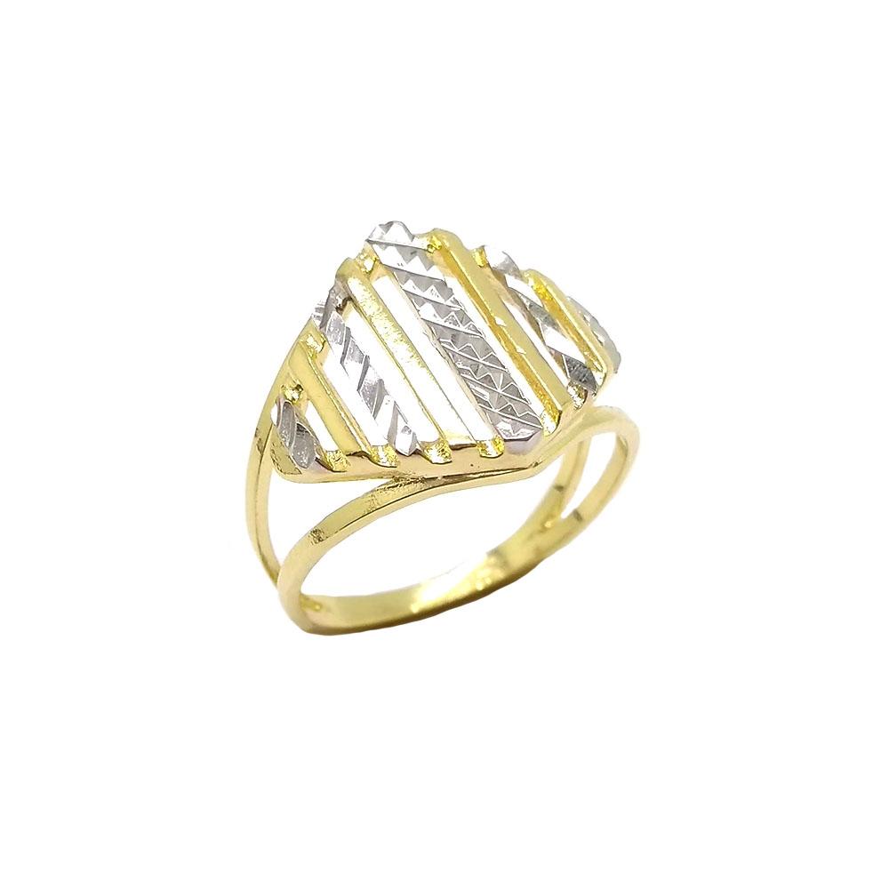 Anel Dois Tons Diamantado Folheado a Ouro 18K
