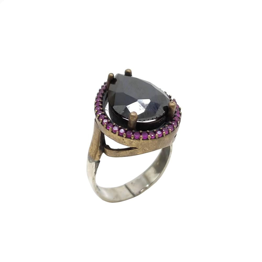 Anel de Prata Turca com Pedra Negra e Rosas